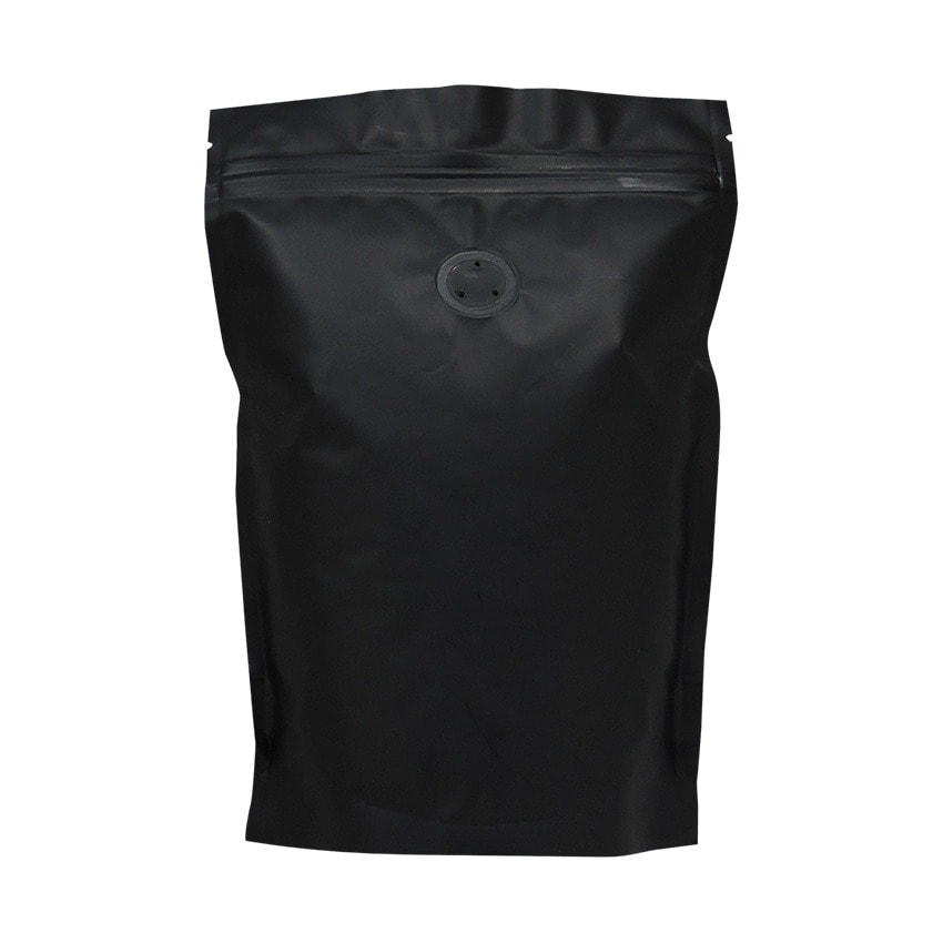 250 stand up pouch matt black with valve