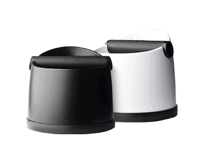 white and black knockboxes for coffee machines